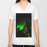 northern lights V-neck T-shirts featuring under northern lights at xmas (contrasted) by donphil