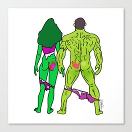 Superhero Butts Love 5 - Green Canvas Print