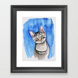 meow? // watercolor tabby cat portrait Framed Art Print