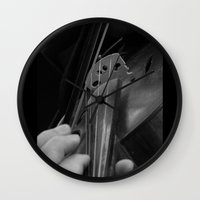violin Wall Clocks featuring Violin by SwanniePhotoArt