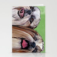 shih tzu Stationery Cards featuring Shih Tzu Dog Art by WOOF Factory