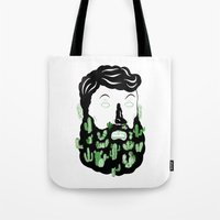 cactus Tote Bags featuring Cactus Beard Dude by David Penela