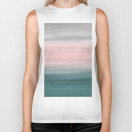 Touching Teal Blush Gray Watercolor Abstract #1 #painting #decor #art #society6 Biker Tank