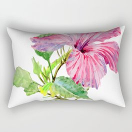 Tropical Pink Hibiscus Watercolor Rectangular Pillow