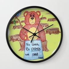 Sad bear & friend Wall Clock
