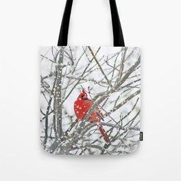 Snowy Winter Cardinal Tote Bag