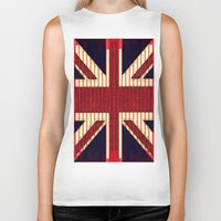 british flag Biker Tanks featuring BRITISH FLAG by shannon's art space