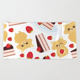attern cute kawaii hamster with fresh Strawberry, cake decorated pink cream and chocolate Beach Towel