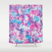 water colour Shower Curtains featuring Water Colour Pattern by Andrea Raths