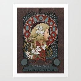 River Song art nouveau , Doctor Who , TARDIS Art Print