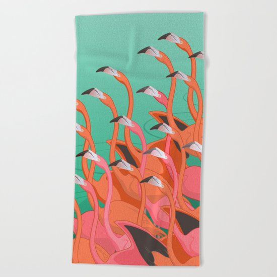 Fresco of the flamingoes. Beach Towel
