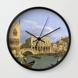 Canaletto - View of the Riva degli Schiavoni, Venice Wall Clock