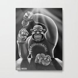 Procrastination (black and white) Metal Print