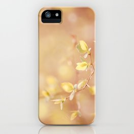 Many young spring leaves on blurred background iPhone Case