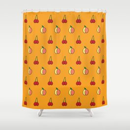 Provocative Produce: Cherries and Peaches Shower Curtain