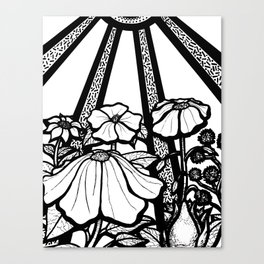 Black and White Flowers In The Sun Canvas Print