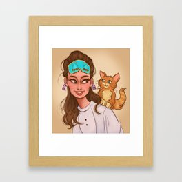 Holly & Cat Framed Art Print
