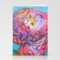 grafitti Stationery Cards featuring Grafitti Face by Whitney Woodrick