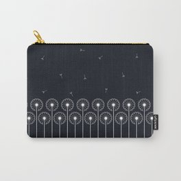 Dandelion border white on black Carry-All Pouch