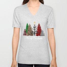 Merry Christams Mixed Pattern Christmas Trees Leopard Print Buffalo Plaid Unisex V-Neck