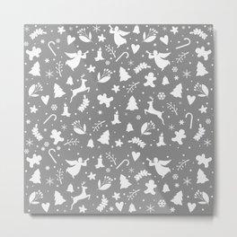 Gray Christmas pattern Metal Print