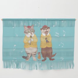 A GIRL WITH CAT and OTTER wide Wall Hanging