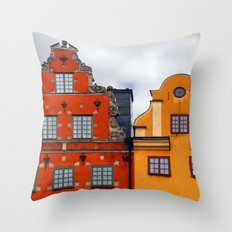 Stockholm. Colorful Houses in Gamla Stan Throw Pillow