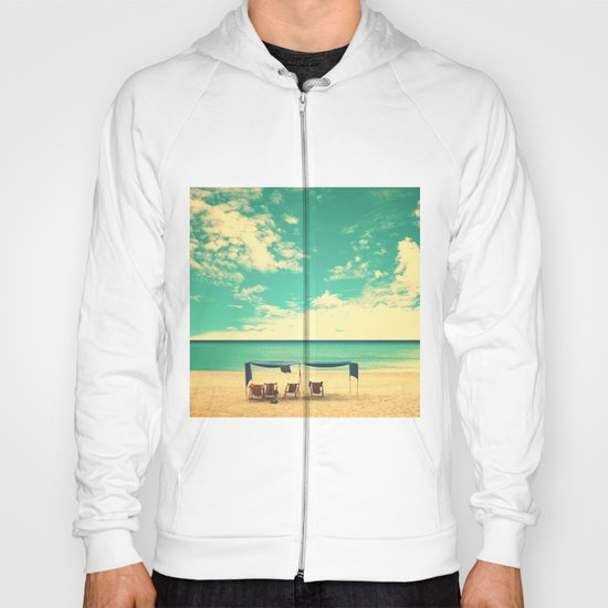 Paradise Beach and Retro Blue Sky  Hoody