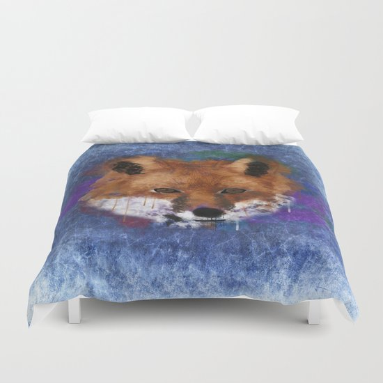 Fox Face Watercolor Duvet Cover
