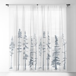Navy Trees Silhouette Sheer Curtain