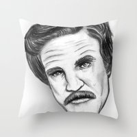 "anchorman Throw Pillows featuring ""Stay classy"" Ron Burgundy - Anchorman by Tom Brodie-Browne"