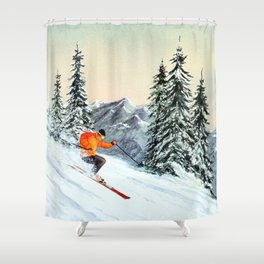 Skiing The Clear Leader Shower Curtain