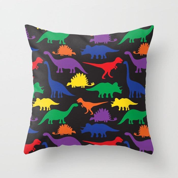 Dinosaurs - Black Throw Pillow