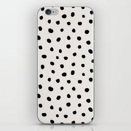 Modern Polka Dots Black on Light Gray iPhone Skin