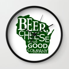 Green on White Beer, Cheese and Good Company Wisconsin Graphic Wall Clock