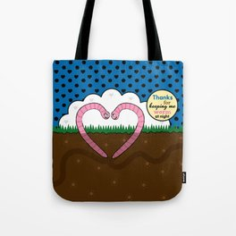 Lovebugs - Thanks for keeping me worm at night Tote Bag