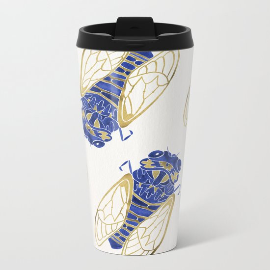 Cicada – Navy & Gold Metal Travel Mug