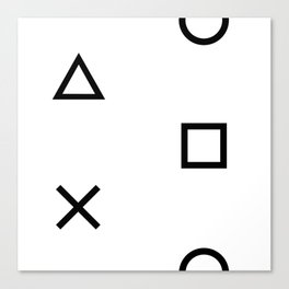 Playstation Controller Pattern (Black on White) Canvas Print
