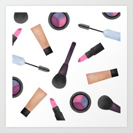 Scattered Makeup Pattern Art Print