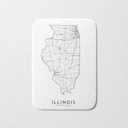 Illinois White Map Bath Mat
