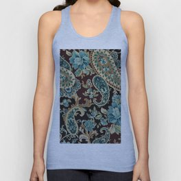Brown Turquoise Paisley Unisex Tank Top