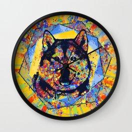 Siberian Husky Abstract Mixed Media Wall Clock