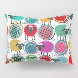 Bright Sheep and Yarn Pattern Pillow Sham