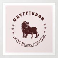 gryffindor Art Prints featuring Gryffindor House by Shelby Ticsay