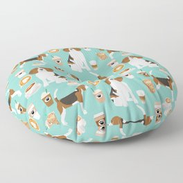 Beagle coffee print cute dog beagles coffees lattes Floor Pillow