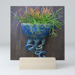Succulent in Blue Wall Sconce Mini Art Print