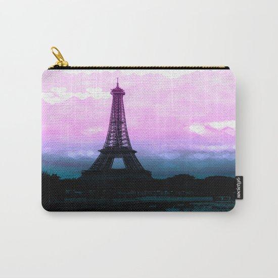 Paris Eiffel Tower : Lavender Teal Carry-All Pouch