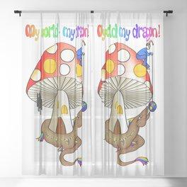My world - my dragon! Sheer Curtain