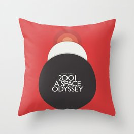 2001 A Space Odyssey - Stanley Kubrick minimalist movie poster, Red Version, fantasy film Throw Pillow