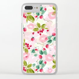 strawberries w kisses Clear iPhone Case